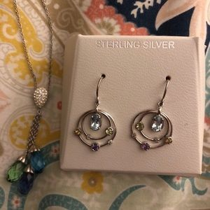 Sterling silver earring and necklace set